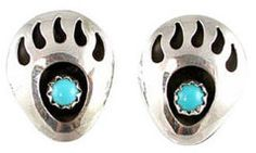 #OpenSky                  #Women                    #Southwestern #Native #American #Handcrafted #Bear #Stud #Earrings #Sterling #Silver #Turquoise, ##2399                           Southwestern Native American Handcrafted Bear Paw Stud Earrings in Sterling Silver and Turquoise, #2399                           http://www.snaproduct.com/product.aspx?PID=5823057