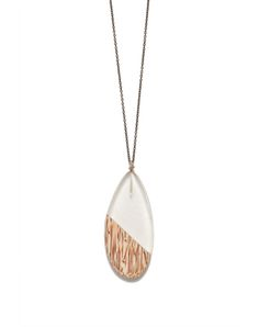 Palm wood & resin oval pendant on a metal chain. Nickel & lead free.