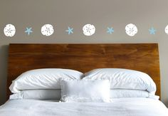 Sea Shells Decal Sand Dollar Decal Starfish Wall Decal Row Kitchen Nautical Hallway White Ocean Sand Beach Breeze Comb Surf Waves Sun by GetCreativeStudios on Etsy https://www.etsy.com/listing/195063870/sea-shells-decal-sand-dollar-decal