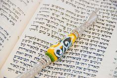 Bold Swirls Torah Pointer YAD With a Handmade Glass by TalGlass, $45