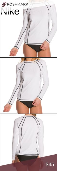Nike swim women's long sleeve rashguard Perfect for blocking out the sun on a bright day, this rash guard is made out of a UV blocking material that will save your skin for hours. The Nike Hydro UV Solid Long Sleeve Rashguard is an ideal rashguard because it's versatility of being able to be worn in and out of the water is a handy piece for any H20 loving person. High coverage. Flat seams for reduced chafing. Ergonomic construction for motion ready fit. UV protection (UPF 40+). Clear swoosh…