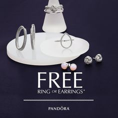 Which will you choose? When you shop now through October 22nd you will receive a free ring or earring pair with your $100 PANDORA purchase or more. See store for details.