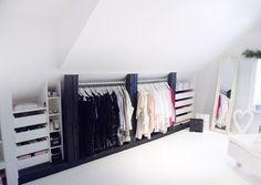 Attic closet (my ideal home .) - # attic closet - Loft closet (my ideal home …) - Loft Storage, Bedroom Storage, Storage Spaces, Bedroom Decor, Clothes Storage, Storage Ideas, Eaves Storage, Wardrobe Storage, Storage Solutions