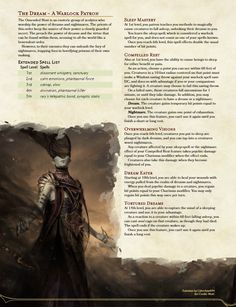 Homebrewing class The Dream - A Warlock patron to unleash the power of nightmares - : UnearthedArcana Warlock Class, Warlock Dnd, Dungeons And Dragons Classes, Dungeons And Dragons Homebrew, Dnd Characters, Fantasy Characters, Dnd Classes, Dnd Races, Dnd 5e Homebrew