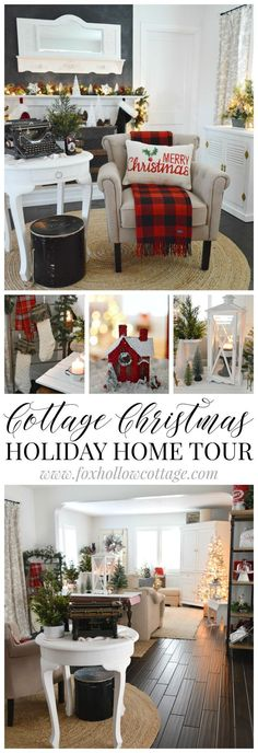 Cozy Cottage Christmas - Holiday Housewalk Home Tour in red, white and black - Find a festive mix of buffalo check plaid and vintage finds at http://www.foxhollowcottage.com