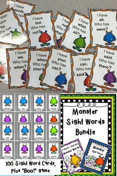 Your kiddos will love learning their sight words with these fun monster cards! Great for playing many different games or use them in centers. Teacher Guide with ideas included.