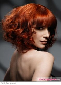 Love this color! m,Pictures : Hair Highlights Ideas - Red Curly Hair Style