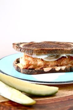 Grouper Reuben | Perpetually Hungry Burger Recipes, Fish Recipes, Seafood Recipes, Rubens Recipe, Grouper Recipes, Dinner For 2, Sweet Pickles, Piece Of Bread, One Pan Meals