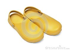 Yellow garden clogs / beach clogs  on white background w/ path