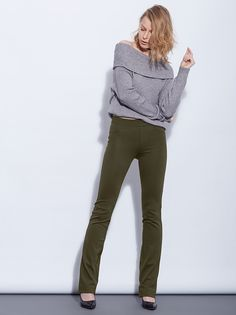 Punto di roma boot cut legging pants with back pockets