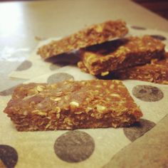 All-Natural, No Bake Protein Bars! I make a batch of these on Sunday, and Josh and I eat them every weekday during the summer with breakfast. I did cut the honey down to 1/2 cup because they were too sweet with 1 cup, and I substituted natural peanut butter for almond butter to cut down on the cost. They're delicious!