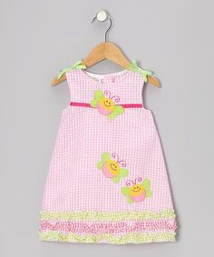 Look at this Sweet & Soft Pink Gingham Ruffle Butterfly Seersucker Dress - Toddler on today! Baby Dress Pattern Free, Girl Dress Patterns, Toddler Dress, Toddler Outfits, Kids Outfits, Cute Girl Outfits, Little Girl Dresses, Seersucker Dress, Sassy Pants