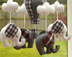 Baby Mobile - Elephant Mobile -  Nursery Mobile - Hot Air Balloon - Scottish Tartan Mobile - MADE TO ORDER