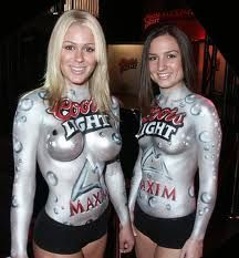 Best beer or girl beer girls pinterest beer girl the miller twins lol with coors light body paint aloadofball Gallery