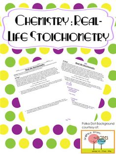 Chemistry Real Life Stoichiometry Problems with KEY Chemistry Worksheets, Chemistry Classroom, High School Chemistry, Teaching Chemistry, Chemistry Lessons, Science Chemistry, High School Science, Physical Science, Science Lessons