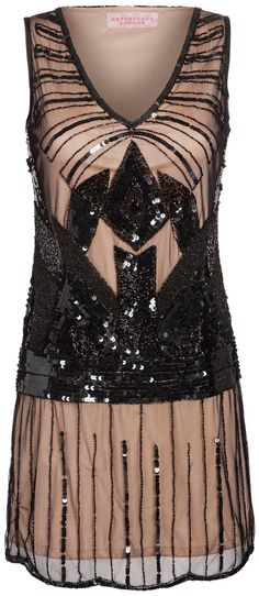 UK28 US24 Black Nude Plus Size Vintage inspired 1920s vibe Flapper Great Gatsby Beaded Charleston Sequin Deco Dress New with Tag Hand Made