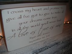 Wedding Sign Personalized I cross my heart and by AndTheSignSays    Someday I will have this