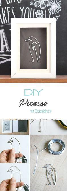 Dani von Gingered things zeigt dir auf ihrem DIY Blog wie man aus Basteldraht ganz einfach die Einstrichtiere von Picasso nachbiegen kann. Wunderbar als Geschenk oder Deko.