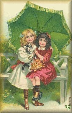 Free freebie printable vintage postcard girls with umbrella Vintage Cat, Vintage Ephemera, Vintage Girls, Vintage Children, Victorian Valentines, Vintage Valentines, Vintage Pictures, Vintage Images, Creation Image