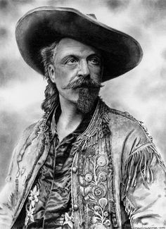 William Frederick Cody alias Buffalo Bill Drawn using a photograph for reference taken by Eugene Pirou - Paris - France - 1896