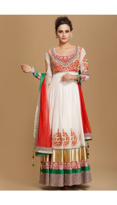 Cream with Red Viscose  Churidar Suit - 1524