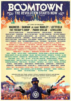 The UK's festival is back! by reggae_roots_bass Fat Freddy's Drop, Boomtown Fair, Imelda May, Reggae Festival, Uk Festivals, Beans On Toast, Festival Posters, Lineup, Jukebox