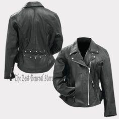 Women Ladies Classic Style Black Solid Genuine Buffalo Leather Motorcycle Jacket #RockyMountainHides