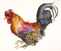 Rooster in Magenta and Gold- love this guy