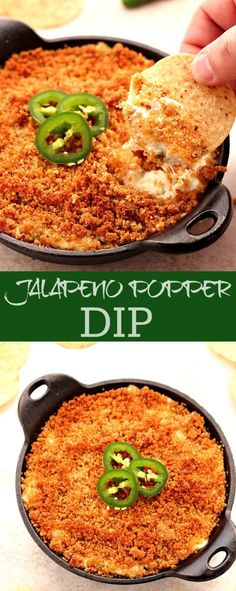 Spicy, creamy dip with crunchy topping. This jalapeno dip is a must for your next game day!