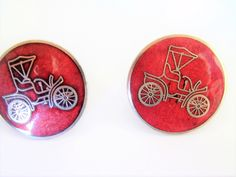 Vintage Antique Car Cufflinks / Model T Ford Cufflinks / Car Cufflinks / Model T Ford Items / Antique Car Items / Cloisonne Cufflinks by TamJewelryandUniques on Etsy