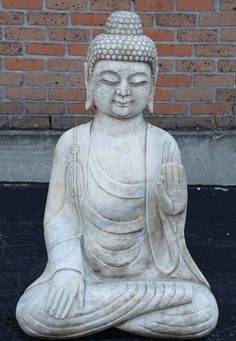 Asian Decor: Carved Marble Buddha Statue in Abhaya Mudra hand gesture from China