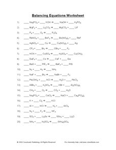 Balancing Chemical Equations Worksheet Answer Key | Printable ...