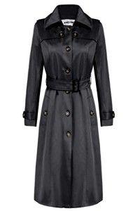 ANGVNS Women's Elegant Long Trench Coat Long Jacket Coat with Belt