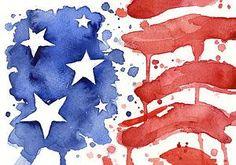American Flag Painting - American Flag Watercolor Painting by Olga Shvartsur