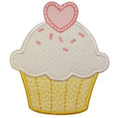 Valentine Cupcake Applique machine embroidery design.  Nice for Valentine's Day holiday or other times of the year.  Cute for kids (and some grown-ups too)!