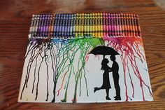 cute melted crayon art with umbrella
