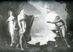 The Tempest (Prospero, Miranda, Caliban and Ariel, Jean-Pierre Simon after Henry Fuseli) Fine Art Prints, Framed Prints, Canvas Prints, Simon Peter, Enchanted Island, Thing 1, The Cell, Heritage Image, Art Reproductions