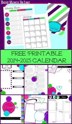 We now have even more fun, colorful pages to go along with our Free Printable 2015 Planner! Calendar, notes, daily tasks, contact pages and more!