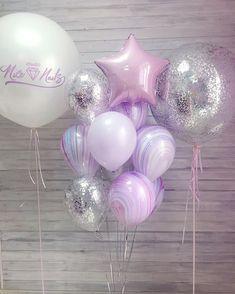 White balloons, konfetti silver, star, fashion agat, big balloon with konfetti Purple Birthday, Birthday Diy, Princess Birthday, Princess Party, Birthday Parties, Purple Party, Purple Balloons, Big Balloons, Birthday Balloons