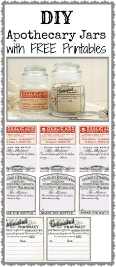 DIY Apothecary Lables Printables from Knick of Time. For more excellent printables from toe tags to labels to a ouija board. Printable Labels, Free Printables, Bottles And Jars, Mason Jars, Limpieza Natural, Decoupage, Etiquette Vintage, Apothecary Jars, Apothecary Products
