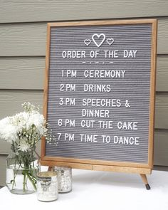 A modern twist on the retro cinema-style message board. Our large letter board is ideal for when you have a little more to say! Country Wedding Photos, Country Barn Weddings, Cowboy Weddings, Outdoor Weddings, Grey Wedding Theme, Casual Wedding, Order Of The Day Wedding, Our Wedding, Wedding Stuff