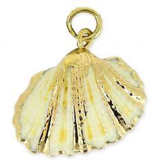 Pendentif coquillage véritable 25-30mm Naturel/doré x1 : Véritable coquillage doré sur les bords et monté avec un anneau ouvert 5.5 mm.  Idéal