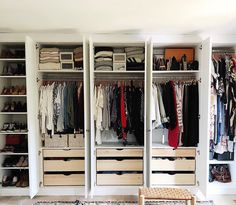 I like to call this a REAL LIFE POST because I'm finally showing the full inside of my new wardrobes! I know you guys have been messaging… Bedroom Built In Wardrobe, Bedroom Closet Design, Master Bedroom Closet, Closet Designs, Home Bedroom, Bedrooms, Dispositions Chambre, Bedroom Cupboards, Closet Layout