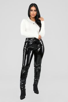 Doesn't Matter To Me Sweater - Ivory Tumblr Outfits, Sexy Outfits, Fashion Outfits, Womens Fashion, Pvc Leggings, Vinyl Leggings, Tights, Edgy Dress, Vinyl Clothing