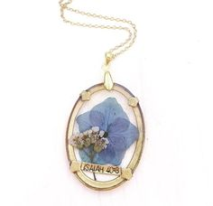 Real Pressed Hydrangea Flower Brass Necklace by flowersfadejewelry
