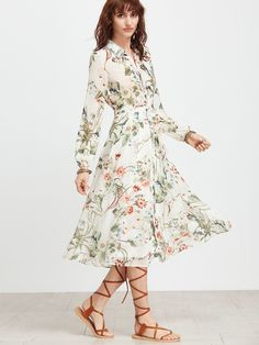 Shop White Floral Shirt Dress With Self Tie online. SheIn offers White Floral Shirt Dress With Self Tie & more to fit your fashionable needs.