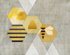 """Bee Art Print I can see this saying """"The Hive"""" so modern and neat."""