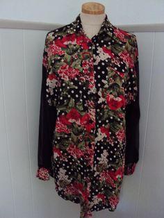 Vintage 90s Sheer Floral Dot Club Shirt Blouse by nanapatproject, $26.00