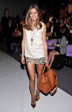Olivia Palermo. Tibi shorts. Valentino Rockstud sling backs.