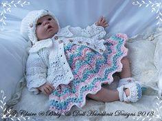 """Vestido de encaje y chaqueta Conjunto diseños 16-22 """"muñeca de la muñeca-handknit, patrón de tejer, muñeca, bebé, vestido, capa"""